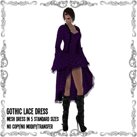 Gothic Lace Dress Purple V2