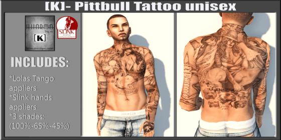 [K]- pittbull tattoo unisex