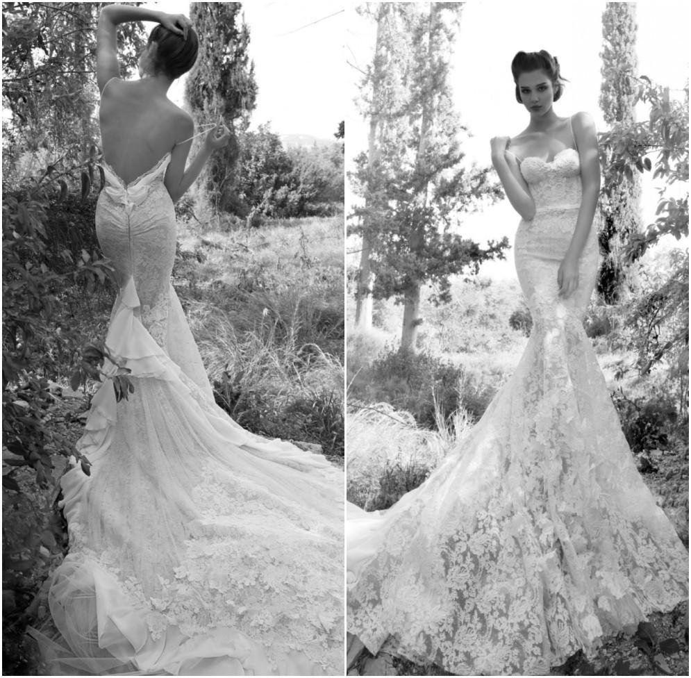intricate lace wedding dress backless mermaid wedding dress Tt82 Intricate Tiny Lace V Neck Backless Mermaid Wedding Dress
