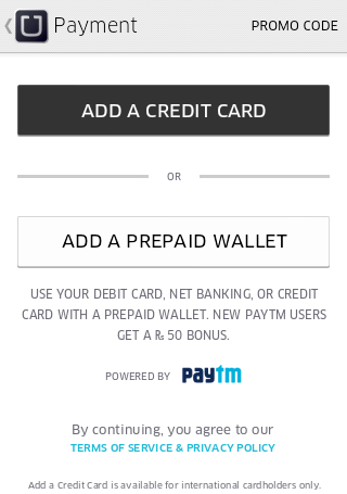 How to use Uber App add credit card
