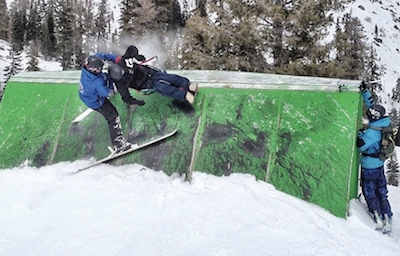 quadriplegic Tony Schmiesing bi-skiing wall feature