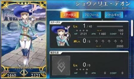 シュヴァリエ・デオン☆4_Lv1ステータス