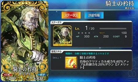 騎士の矜持_Lv1ステータス