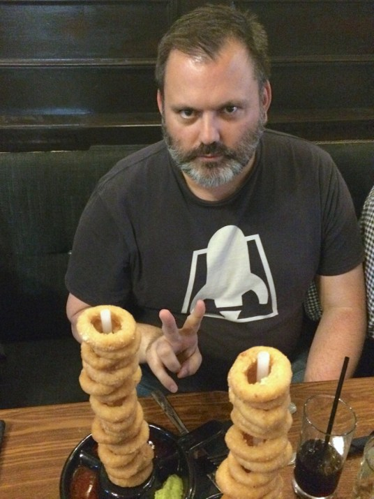 FGV with vegan onion rings