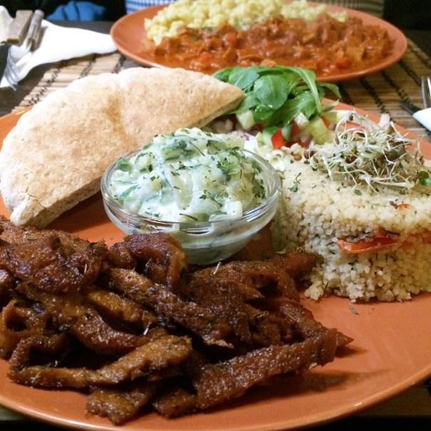 seitan plate with salad