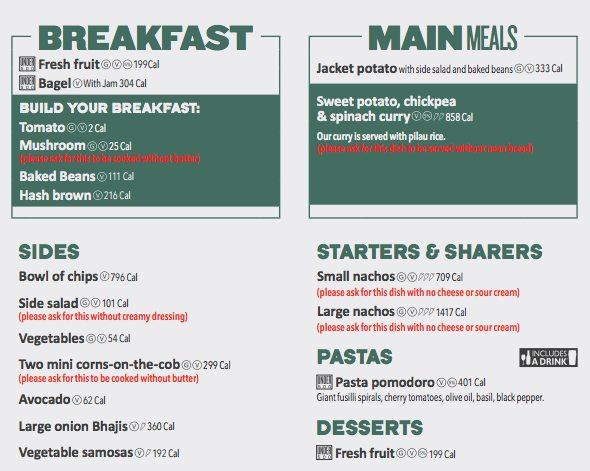 wethersppon vegan menu