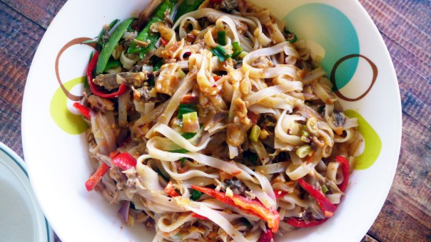 Pad Thai Noodles made delicious with duck stock and  shredded duck meat.