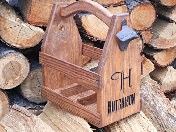 Wooden Personalized Beer Carrier