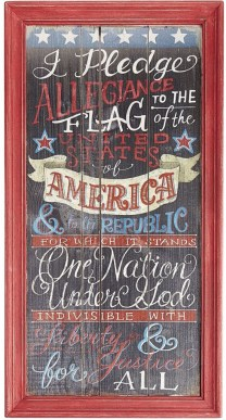 Bring back memories of grade school days by displaying this beautifully decorated Pledge of Allegiance