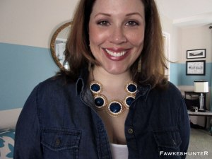 Close Up Necklace and Collared Shirt