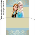 envelope CD DVD  Molde Frozen Fundo Azul e Nude