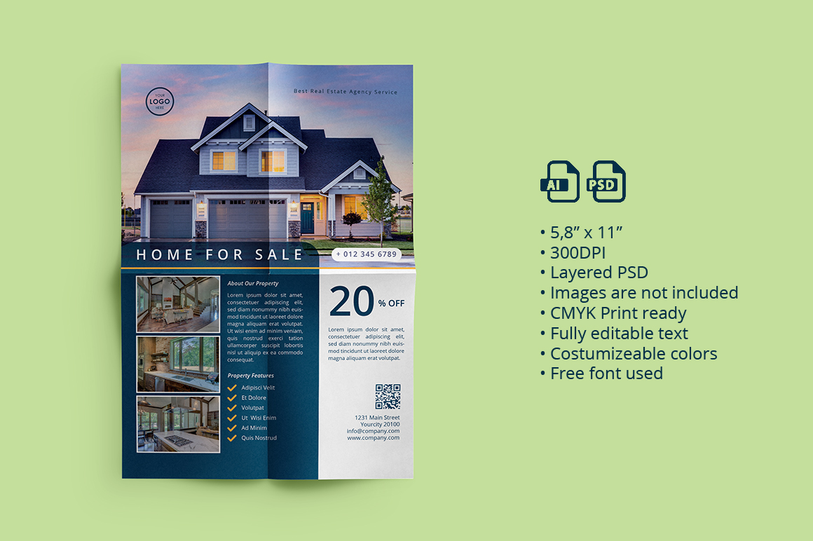 Real Estate Flyer 02 by ihsankl   Design Bundles Real Estate Flyer 02 example image 1