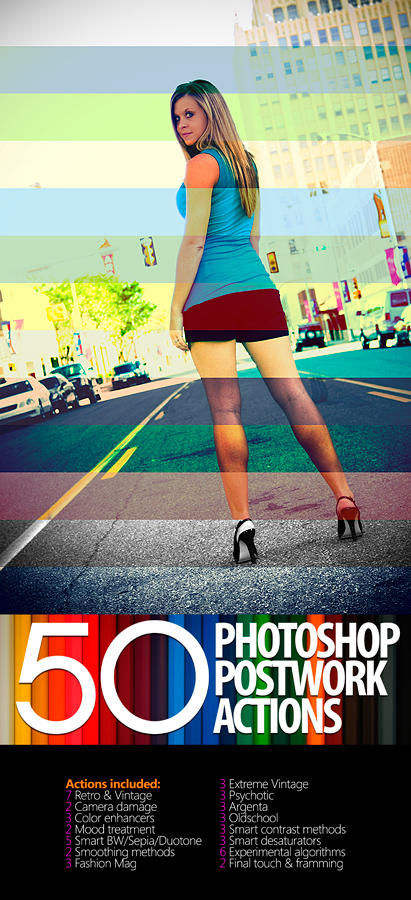 50 Photoshop Postwork Actions by manicho 10 Great Photoshop Actions Packs