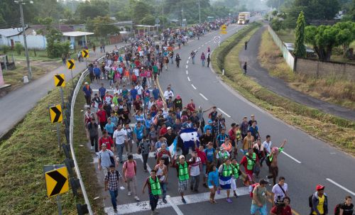 Mandatory Credit: Photo by Moises Castillo/AP/REX/Shutterstock (9939602c) Central American migrants walking to the U.S. start their day departing Ciudad Hidalgo, Mexico, . Despite Mexican efforts to stop them at the border, about 5,000 Central American migrants resumed their advance toward the U.S. border early Sunday in southern Mexico. Their numbers swelled overnight and at first light they set out walking toward the Mexican town of Tapachula Central America Migrant Caravan, Ciudad Hidalgo, Mexico - 21 Oct 2018