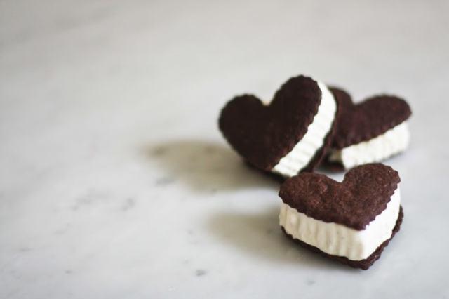 Chocolate Heart Ice Cream Sandwiches   www.feastingathome.com