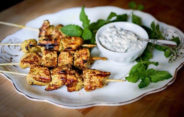 Grilled Tandoori Chicken (or Tofu) Skewers w/ Cucumber ...