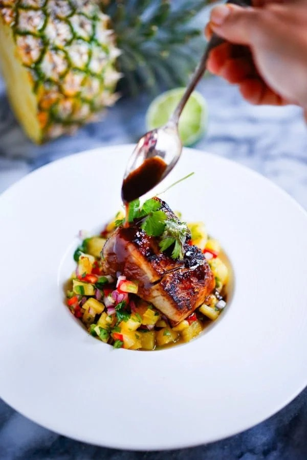 Seared Hawaiian Ono with Honey Soy Glaze and fresh Pineapple Salsa...an elegant healthy meal, perfect for a gathering or dinner party. Easy, delicious! | www.feastingathome.com