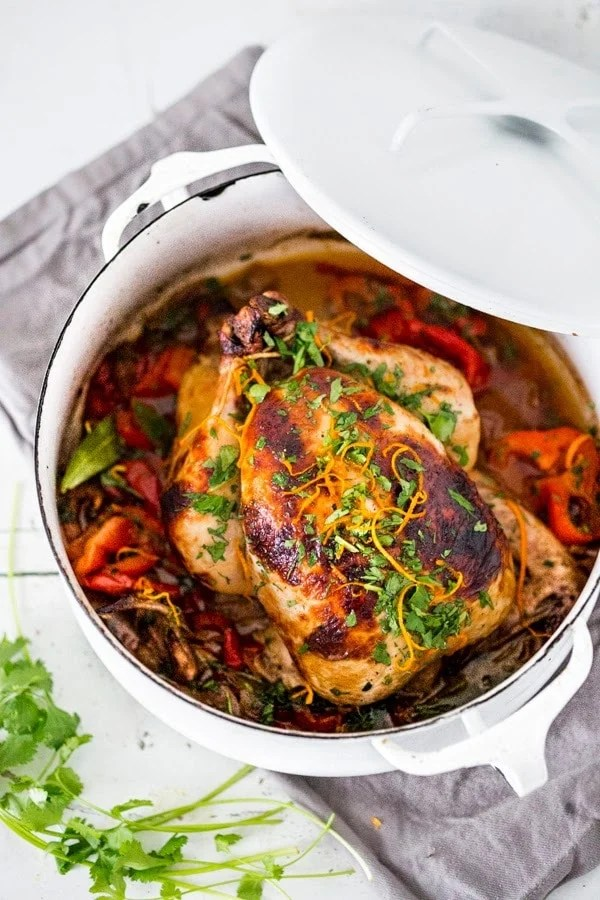 Cuban Chicken with Chili Roasted Yams in flavorful Mojo Marinade- a mouthwatering recipe! | www.feastingathome.com