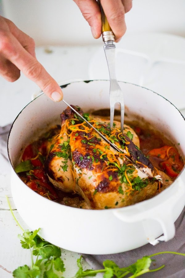Cuban Chicken with Chili Roasted Yams in flavorful Mojo Marinade- a mouthwatering recipe! www.feastingathome.com