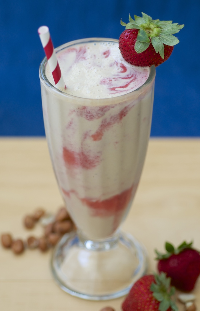 Peanut Butter Strawberry Swirl Milkshake with Peanut Milk - Feasting ...
