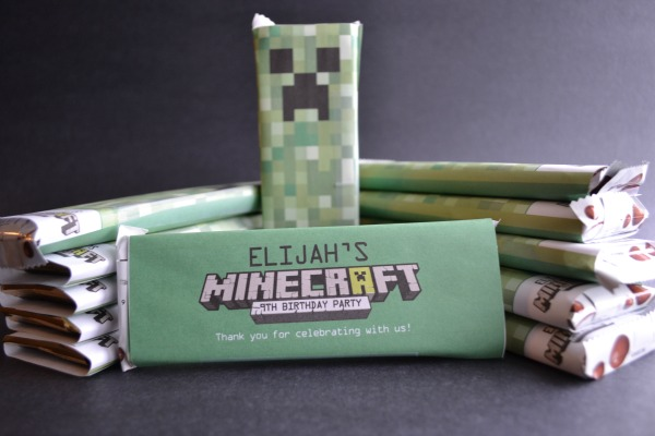 Minecraft candy bar wrappers