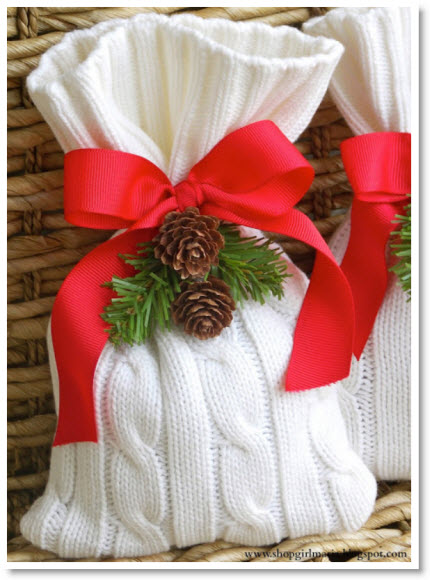 no sew sweater gift bag DIY