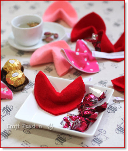 Heart-Shaped Felt Valentine Fortune Cookies