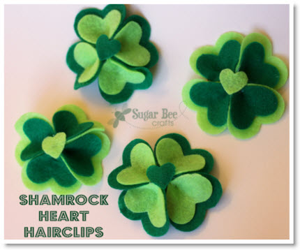 Shamrock Felt Heart Hairclips