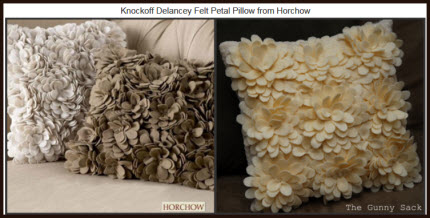 Knockoff Delancey Felt Petal Pillow from Horchow