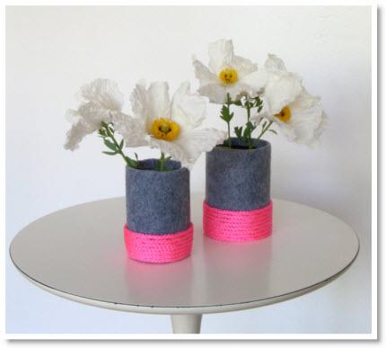 felt neon vases