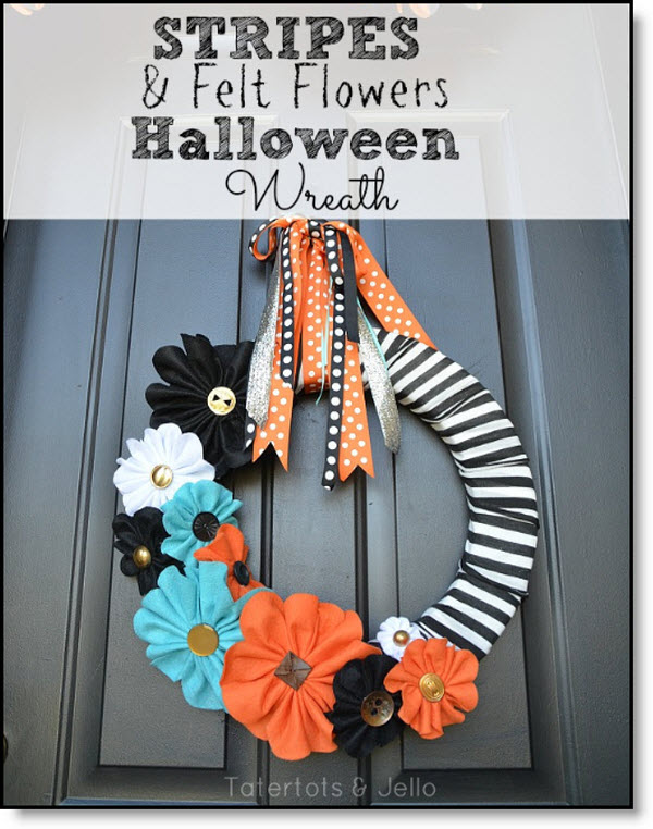 Halloween Stripe and Felt Flower Wreath