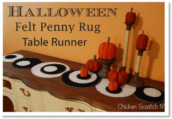 Halloween Penny Rug Table Runner