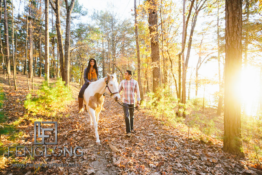 Atlanta Indian Engagement Session at Lake Lanier Stables with Horse