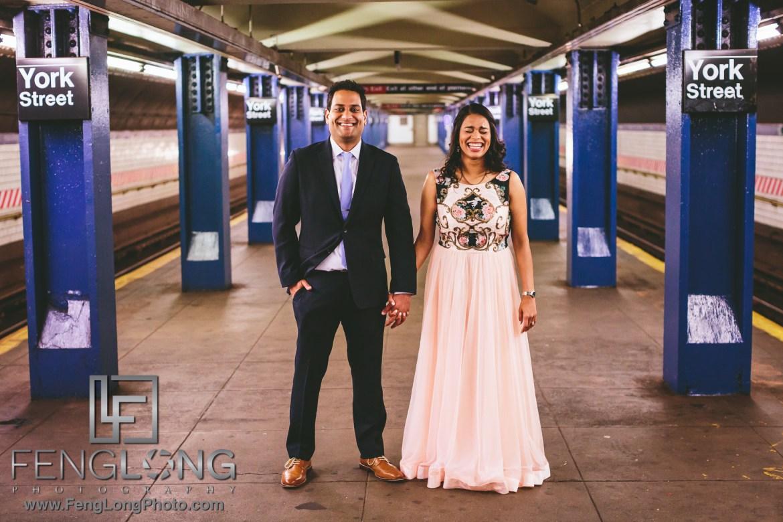 New York City Engagement on Subway platform