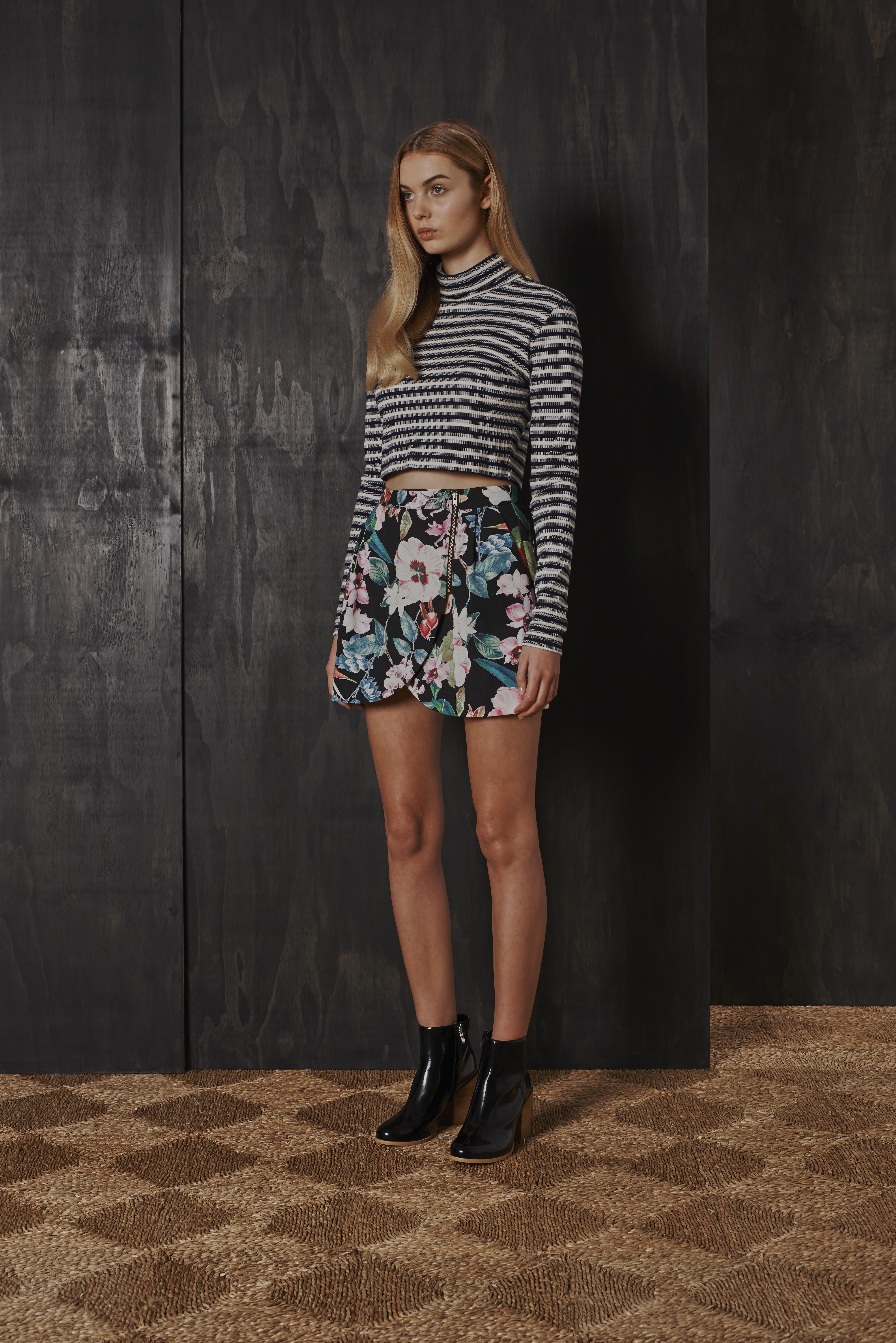 RUBY Storm Turtleneck, Nectarine Petal Skirt & Willow Boot