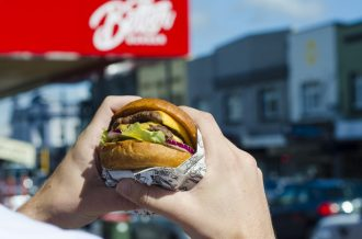 Better Burger Mt Eden is putting its rubbish where your mouth is this Earth Day April 22nd - Better Burger double cheeseburger and Mount Eden store exterior