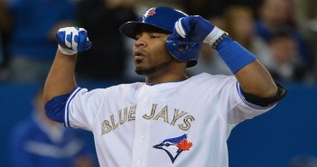 SP-JAYS27MAY TORONTO, ON - MAY 27  -   Blue Jays DH Edwin Encarnacion clebrates while crossing the plate after hitting a 3 run home run in the 7th inning as the Toronto Blue Jays defeat the Atlanta Braves 9-3 at the Rogers Centre on May 27, 2013. Carlos Osorio/Toronto Star