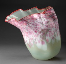 """Dale Chihuly, """"Macchia with Red Lip Wrap"""" late 80s early 90s, blown glass, 20 x 16 x 18""""."""