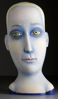 "Sergei Isupov, ""In the Clouds"" 2008, stoneware, stain, glaze, 34.5 x 17 x 9""."