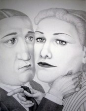 "Sergei Isupov, ""During 20th Century"" 2009, charcoal on paper, 60 x 46.5""."
