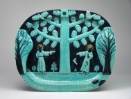 """Stephen Bird, """"Persian Blue Shoot Out"""" 2012, earthenware, pigment, glaze, 15.75 x 19.75"""". Courtesy Garis and Hahn Gallery."""