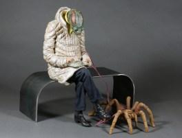 "Alessandro Gallo, ""Scripta elegans"" (tarantula), 2011, clay, acrylics, 15.75 x 13.75 x 13""."