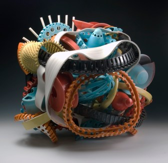 "Ryan LaBar, ""The Subconscious Shelf"" 2011, porcelain, stoneware, 25 x 28 x 22""."
