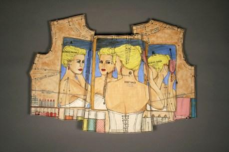 "Shalene Valenzuela, ""Follow the Pattern: Bathroom Vanity"" 2012-13, porcelain, underglaze, print transfer, 15 x 21 x 2""."