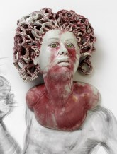 "Sergei Isupov, ""Chaos"" 2015, porcelain, slip, glaze, 14 x 9 x 5.5""."