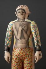 "Sergei Isupov, ""Risen"" detail, 2016, porcelain, slip, glaze, 8'."