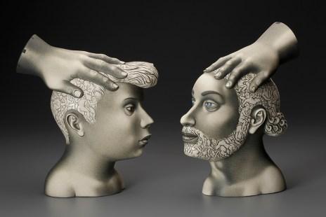 "Sergei Isupov, ""Motivation"" 11.5 x 4 x 13"" and ""Inspiration"" 11.5 x 4 x 12"", 2016, porcelain, slip, glaze."