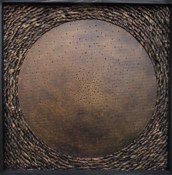 Sans titre (1) - Carton, encre de chine, peinture, cire, cadre bois (50*50cm) (2016)