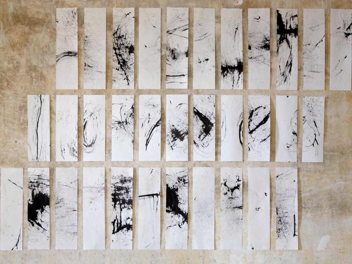 Facquer Amandine-Herbes noires, encre sur papier (réalisé avec des pinceaux d'herbes), 24 de 8 x 29,5 cm, 11 de 8 x 23,7 cm, 2014-web