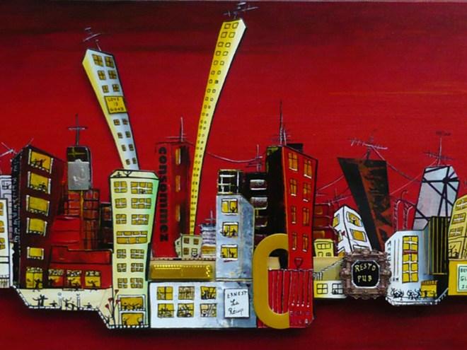 VILLE ROUGE - Acrylique sur toile (30*120cm) (2015)